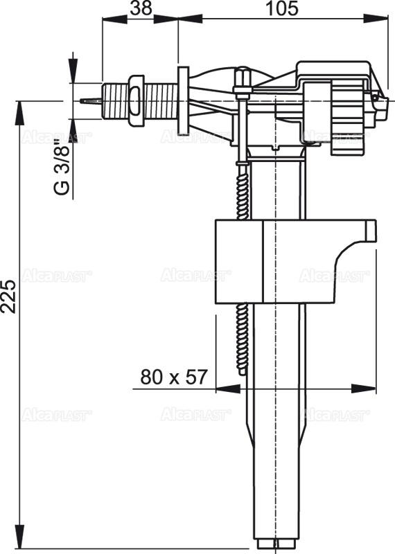 3/8″ Впускной механизм с боковой подводкой (Alca PLAST) Чехия