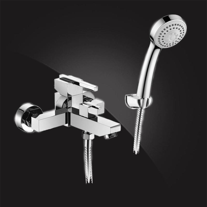 Смеситель Elghansa KUBUS 23B9741 для ванной однорычажный с душевым комплектом, хром